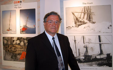Leader of the DAMOCLES project, Jean-Claude Gascard, at the exhibition at the Frammuseum in Oslo. Photo: Erlend Hermansen